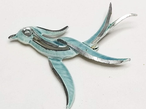 Designer by Marvella, brooch, bird motif, blue/green and silver tone.