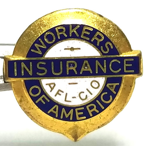 Designer by Christian Bros Co., lapel pin, Insurance Workers of America, 5/8 in.