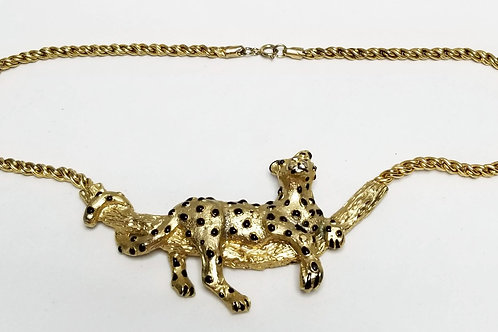 Designer by Mimi Din, necklace, wild cat motif in gold tone pot metal.