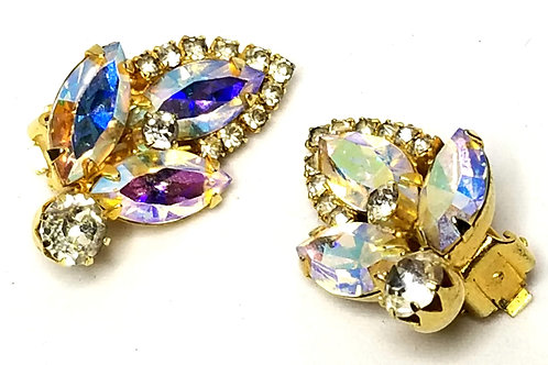Designer by Weiss, earrings, clip on, flower motif, Aurora Borealis crystals.
