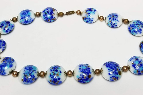 Designer by Murano, necklace, blues and white with gold foil, in gold tone.