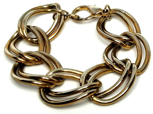 Designer by provenance, bracelet, links, gold tone, 8 inches.