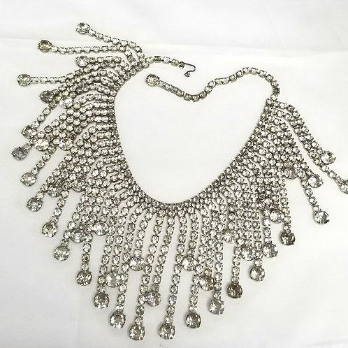 Neck wear, rhinestone choker necklace, 15 1/2 inches, silver tone