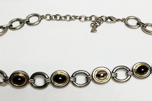 Designer by LCI, neck wear, black chain links with silver and gold tone pot meta