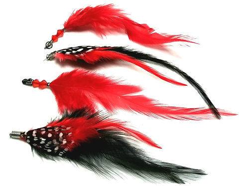 Designer by provenance, earrings, dangles, feathers motif, red, black, white.