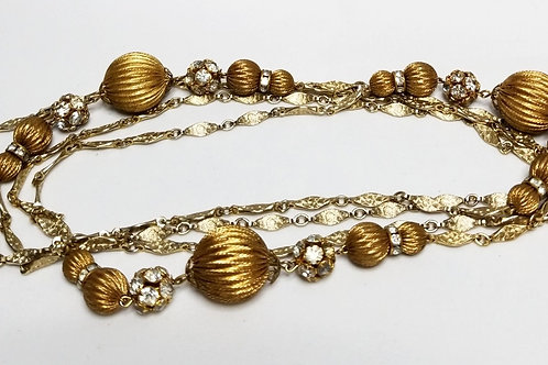 Designer by Goldette, necklace, rhinestones, gold tone beads 31 inches.