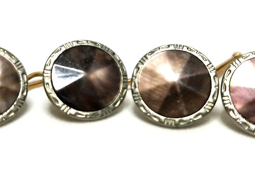 Designer by Krementz, cuff links or tuxedo buttons, Abalone type stones, 1/2 inc