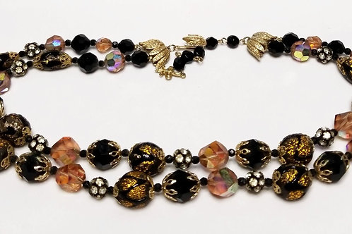 Designer by Vendome, neckwear, necklace, brown and black foiled beads gold tone