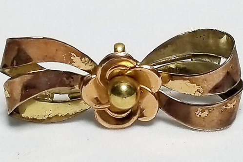 Designer by Harry Iskin, brooch/slide pendant, bow/flower motif gold tone