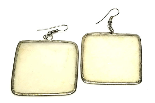 Designer by provenance, earrings, pierced wires, capiz shells, silver tone.