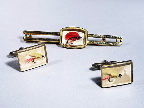 Designer Anson,  tie tack / cuff links set, fishing motif, white and gold tone