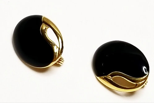Designer by Monet, earrings, clip on black and gold tone ovals.