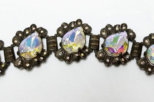 Designer by Judy Lee, bracelet, Aurora Borealis teardrop cabochons.