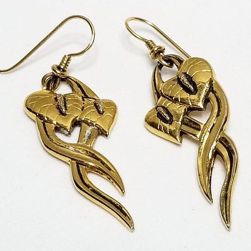 Designer by Laurel Burch, earrings, dangle, heart motif, gold tone