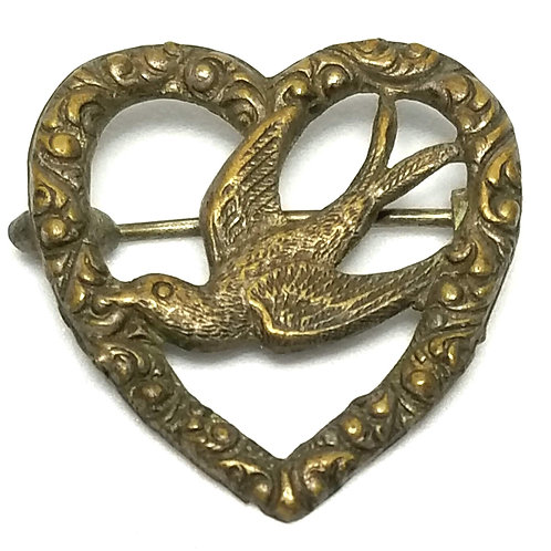 Designer by provenance, brooch, heart and bird motif, bronze, 1 x 1 inch.