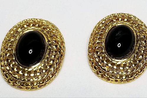 Designer by Les Bernard, earrings, black glass oval cabochons in gold tone.