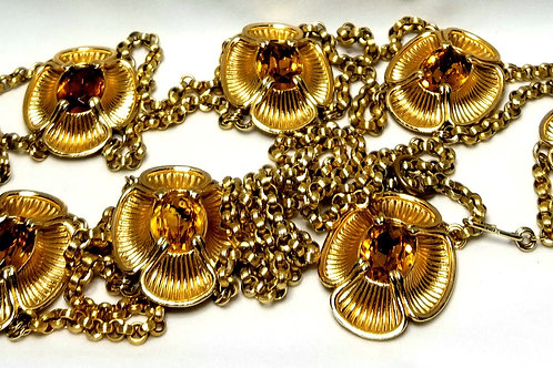 BELT - Napier, Citrine colored glass stones in gold tone pot metal.