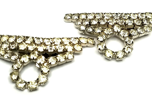 Designer by provenance, shoe clips, clear rhinestones, silver tone.