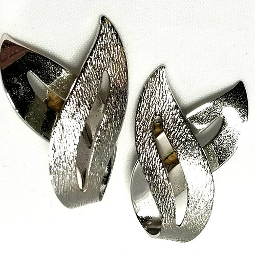 Designer By Sarah Cov, earrings, clip on, silver tone.