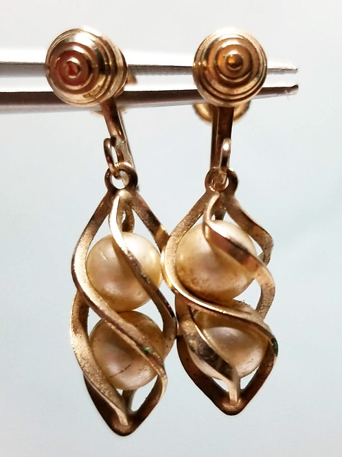 Designer by SAC, earrings, double pearl earrings, dangle gold tone.