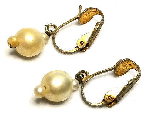 Designer by provenance, earrings, clip on drops, white faux pearls, gold tone.