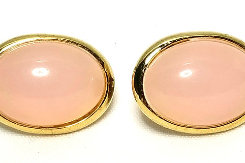 Designer by Crown Trifari, earrings, pink oval cabochons in gold tone pot metal.