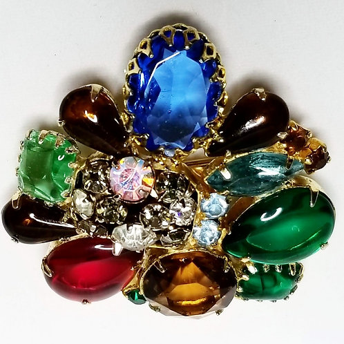 Designer by Juliana, brooch, multi colored stones in gold tone pot metal.