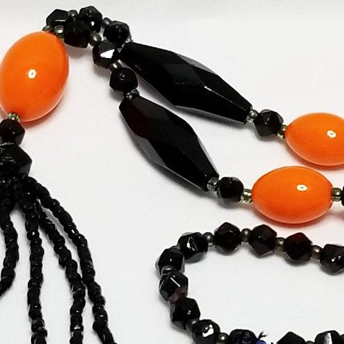 Designer by Flapper, neckwear, black and orange beaded necklace.