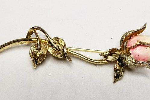 Designer by Coro, brooch, flower motif, pink and white rose in gold tone.