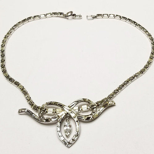 Designer by Trifari, necklace, clear rhinestones in silver tone pot metal.