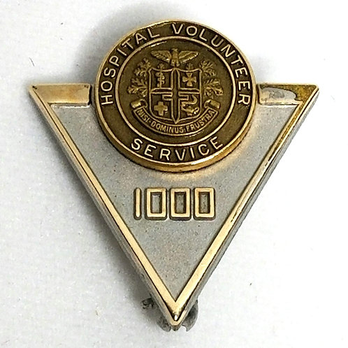 Designer by cTo, pin, Hospital Volunteer Service 1,000, 10K GF and silver tone.