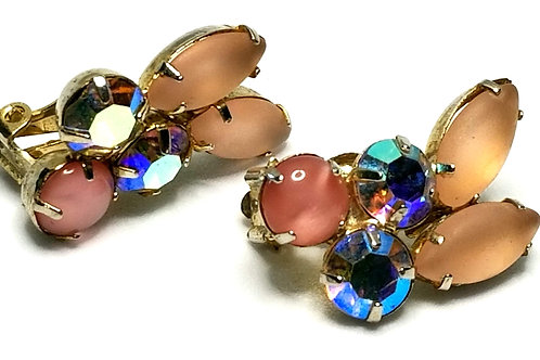 Designer by provenance, earrings, clip on, pink stones and rhinestones, 1 inch.