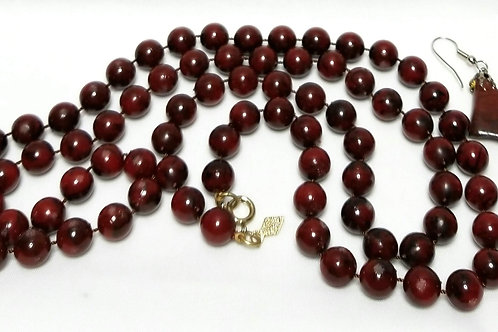 Designer By Sarah Cov, necklace, red beaded gold tone necklace,earrings.