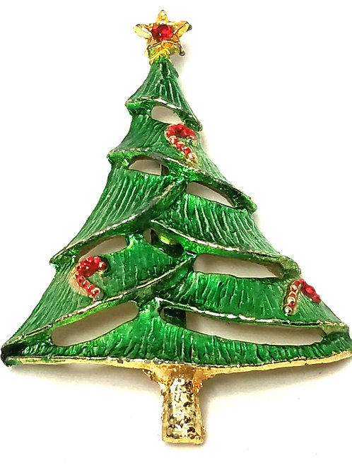 Designer by B.J., brooch, Christmas tree motif, multi color, gold tone.