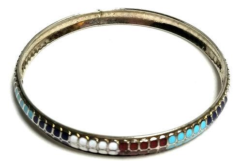 Designer by provenance, bracelet, bangle, Cloisonne motif, 6 inch.