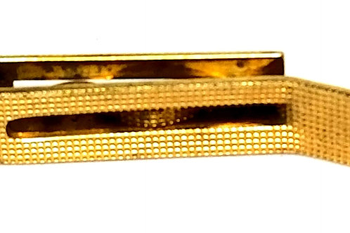 Designer by Provenance, tie bar, gold tone pot metal, 1/4 x 1 3/8 inches.