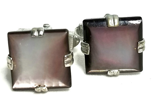 Designer by Swank, cuff links, Abalone look stones, silver tone, 1/2 inch.