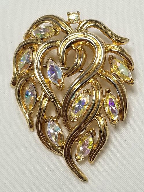 Crown Trifari, Aurora Borealis crystals gold tone brooch, 1 1/2 x 2 inches