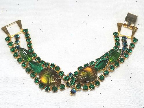 Designer by provenance, scarab bracelet, green crystals and navette