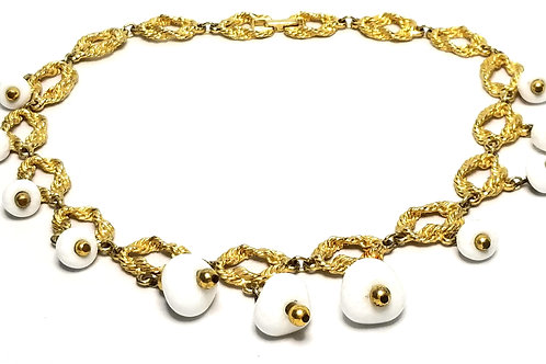 Designer by provenance, necklace, white beads, gold tone chains, 16 inches.