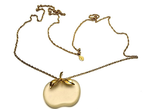 Designer by Avon, pendant necklace, apple motif, frosted clear glass, gold tone.