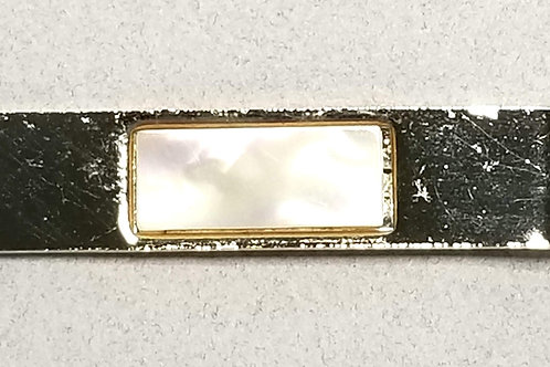 Designer by Provenance, tie clip, Mother of Pearl, gold tone, 1 3/4 x 3/4 inch.