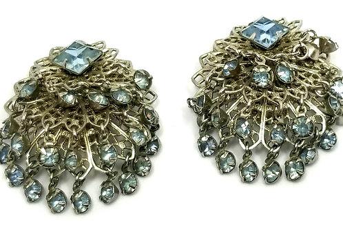 Designer by provenance, earrings, clip on, blue rhinestones in silver tone.