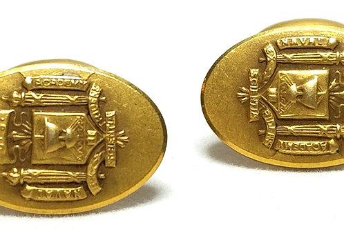 Designer by Krementz, cuff links, US Naval Academy insignia, 1/2 x 3/4 inch.