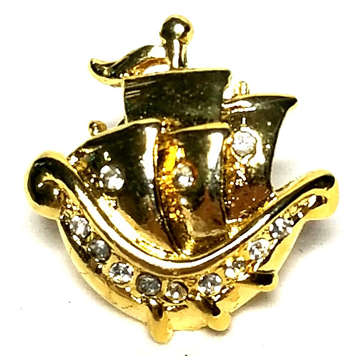 Designer by Provenance, tie tack/pin, sailing ship motif, clear rhinestones.