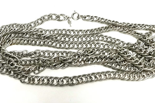 Designer by Crown Trifari, necklace, double link silver tone 54 inches.