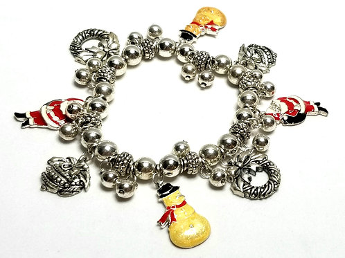 Designer by provenance, bracelet, stretch charms, Christmas motif, silver tone.