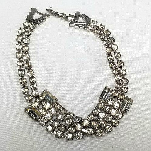 Bracelet, clear rhinestones 7 inch bracelet, designer by provenance, silver tone