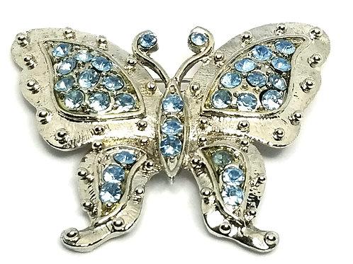 Designer by provenance, brooch, butterfly motif, blue rhinestones, silver tone.