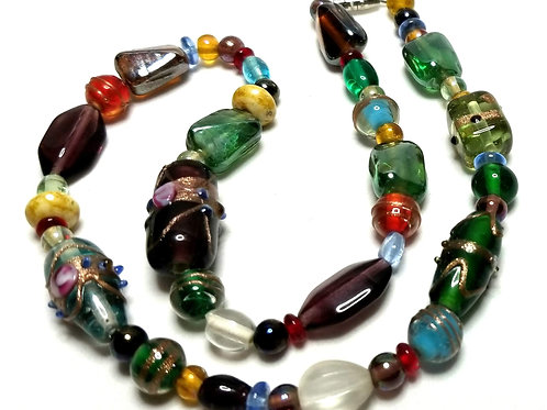 Designer by provenance, necklace, multi color art glass beads, 17 inches.